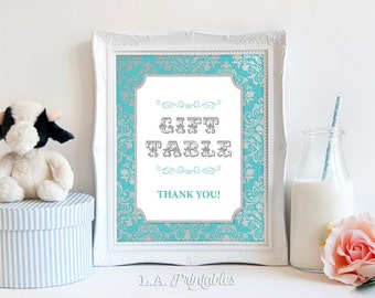 Gift Table Party Sign, Teal & Silver Damask Baby Shower Sign, 2 Sizes, Baby Boy, DIY Printable, INSTANT DOWNLOAD