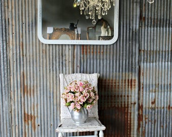 A N T I Q U E Mirror with Ornate Pediment, Shabby Chic, Cottage Chic, Vanity Mirror, French Country Mirror, Parlor Mirror