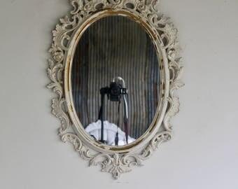 C H I P P Y , Baroque Ivory Mirror, South Beach, Regency, Florida,  Mirror, Fancy Mirror, Oval Mirror