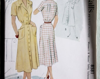 Vintage McCall's 8581 Tailored Dress Pattern 30 Bust 1951