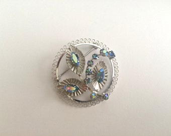 Vintage Sterling Silver and AB Rhinestone STAR ART Brooch, Pin