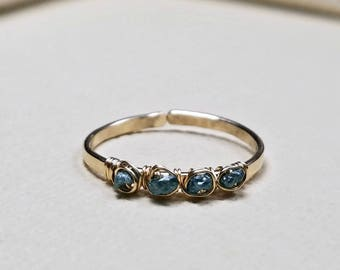 Raw Blue Diamond Ring, Rough Diamond Ring, Wire Diamond Ring, Adjustable Diamond Ring, Conflict Free: Delicate, Not For Every Day Use