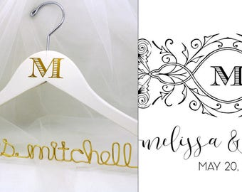 Wedding Dress Hanger with Custom Monogram from Invitation, Program, Personalized Wire Name Hanger, Custom Initial Hanger, Invitation Logo