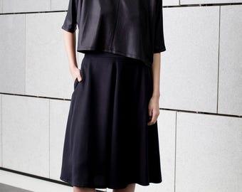 Elegant black top, semi sheer, crew neck, loose fit, crop top, summer top, kimono sleeves top, party wear, sparkle top, gold seam, oversize
