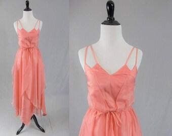 70s Pink Maxi Dress - Formal Party Dress - Pixie Fairy Petal - Vintage 1970s - XS S