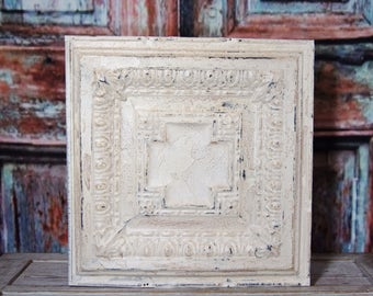 Antique Tin Ceiling Tile ~ 18 x 18 ~ salvaged ~ cottage chic wall decor