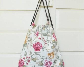 Drawstring bag, drawstring backpack, gym sack, cord bag, string bag, vegan, upcycled, eco-friendly, flower, rose floral, made in barcelona