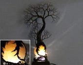 ReSerVed for Ben, 14 inch wire Tree Of Life sculpture, Ancient Grove Spirit, Selenite Sphere, LED gemstone lamp