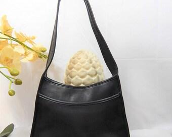Beautiful-Authentic COACH---Vintage  Leather ---Authentic Coach Handbag--Rich Black Leather