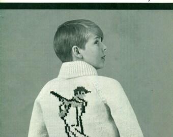 Mary Maxim BASEBALL ZIP CARDIGAN #590 Graph-Style Knitting Pattern Children's 8-10-12