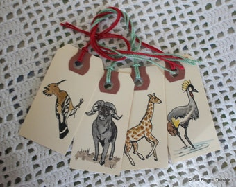 Wild Animals Gift Tags - Set of Eight Hand-Painted Tags