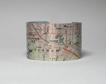 Durham North Carolina Cuff Bracelet Unique Hometown Custom Map Graduation Gift for Men or Women