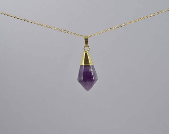 Amethyst Crystal Gemstone Pyramid Point Necklace, Crystal Choker, Crystal Point Necklace, Quartz Crystal, Crystal Necklace, Crystal Point