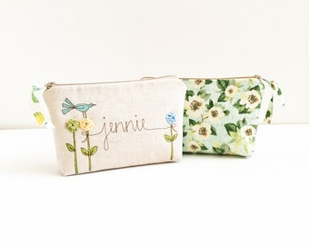 Gift for Wife, Personalized Cosmetic Bag, Womens Gift from Husband, Floral Makeup Bag, Custom Made Cosmetic Case, Dogwood Floral