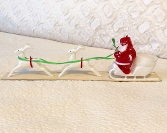 Vintage 1950s Santa Special Sleigh and Reindeer by E. Rossen Company Plastic with box