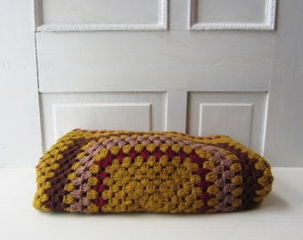 Vintage Afghan Throw Blanket - Lap Blanket - Gold, Maroon, Brown, Purple -  1970's  - Boho Home Decor