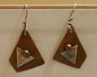 Sale = First Design Ever Sterling Silver and Copper Earrings