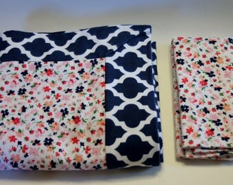 Floral and Navy Geometric Double Flannel Baby Blanket with Matching Burp Cloth for Girls- Receiving Blanket, Flannel Blanket