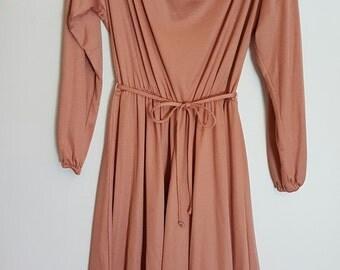 Vintage 1970's pastel salmon pink evening dress