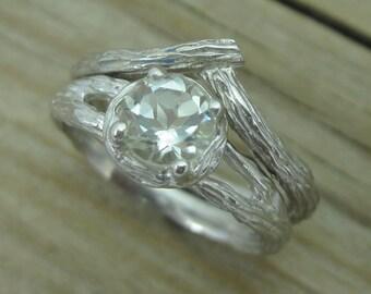 Bark Engagement Ring Set, Wood Engagement Ring Bridal Set, Wood Wedding Ring Set, Wedding Alternative Rings, Green Amethyst Engagement Ring