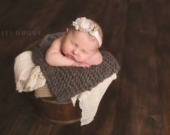 Newborn Tieback, Newborn Photo Prop, Blush Nude Beige Tieback, Newborn Headband, Newborn Tie Back, Newborn Halo, Floral Crown, Lace