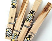 WOODEN BEE CLOTHESPIN hand painted magnet honey bee