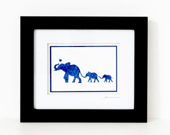 Mother's Day Elephant and Two Babies - Paper Cut Mom Silhouette