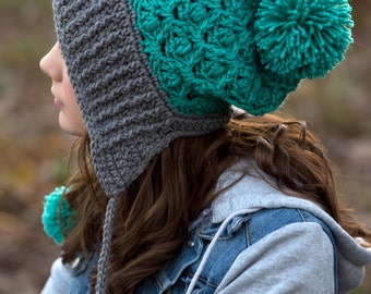 Earflap Hat with pom poms/turquoise and gray hat/slouchy hat (fits adult)