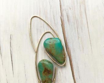 Turquoise  Earring Turquoise Tear Hoop Modern Turquoise Tear Hoop Turquoise Jewelry