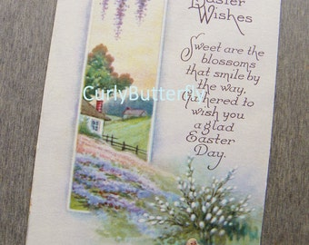 Vintage Postcard, Easter Wishes Poem, Yellow Baby Chick in Field of Flowers w/Country Home Scenery, Divided Back, 1900's