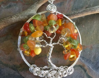 Amber/Citrine Tree of Life Pendant with Sterling Silver Chain -Amber/ Citrine/ Necklace- November Birthstone - Birthday Gift