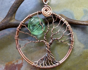 GLOW in the DARK Tree of Life Necklace in Antiqued Copper,Glowing Moon Tree of Life Pendant,Wire Wrapped Glow in the Dark  tree of Necklace