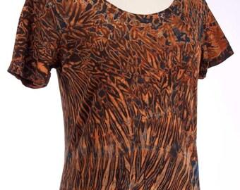 L Shibori Women's Scoop Neck Tie Dye T Shirt Zircon Black Large