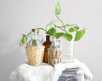 set of 4 woven glass bottle vases / bud flower vases