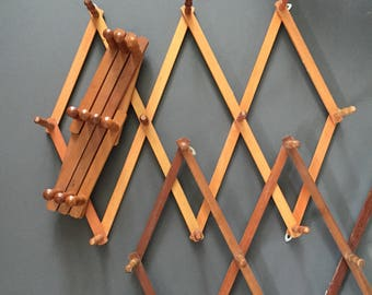 vintage large accordion wood peg wall hanging rack // hat display storage // organizer