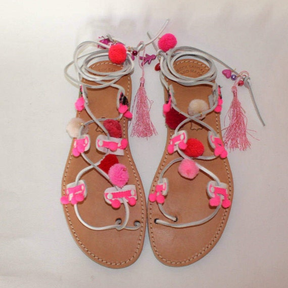 Womens Sandals, Leather Sandals, size 40 -US 10 Flat Sandals, Pompom sandals, Sandals, Leather Flat Sandals,