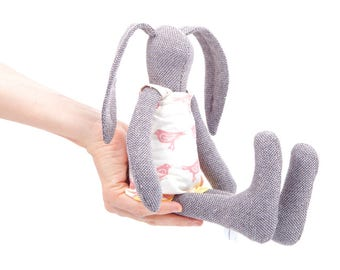 bunny rabbit , rag doll , stuffed animal , litte bunny , handmade Doll , girls friendly doll , plush softie , fabric doll , Small bunny toy