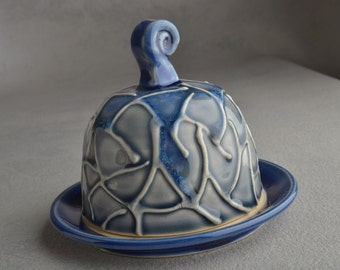 Lidded Butter Dish Ready To Ship Gray and Blue Random Lines Butter Keeper by Symmetrical Pottery