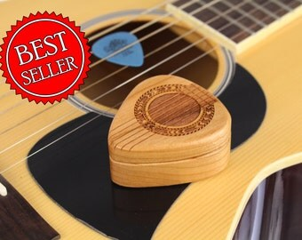 "Guitar Pick Box, 2-1/4"" x 2"" x 1d"", Pattern G37 Slender, Solid Cherrywood, Laser Engraved, Paul Szewc"