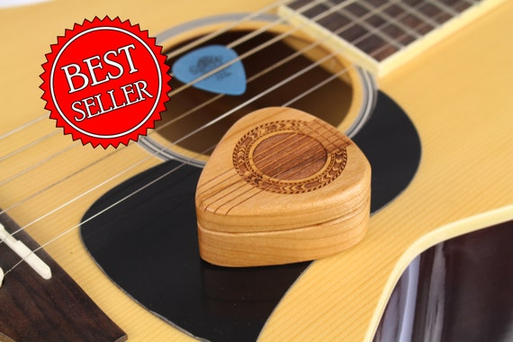 "Guitar Strings Pattern Guitar Pick Box, 2-1/4"" x 2"" x 1d"", Pattern G37 Slender, Solid Cherrywood, Laser Engraved, Paul Szewc"