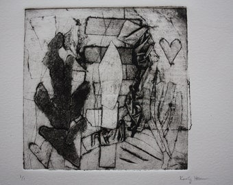 Abstract intaglio collograph print - one of kind hand pulled print