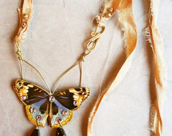 Butterfly Pendant - Assemblage Jewelry - Sari Silk Necklace - Wearable Art Pendant Necklace - Art Nouveau Butterfly Jewelry