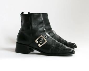 Vintage 1980's Black Leather Zip Up Buckle Boots/ Women's Size 9