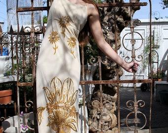 Vintage 70s Maxi Sunflowers Dress GODDESS WEDDING Dress Gown / Hand Beaded // Vintage Clothing by TatiTati Style on Etsy