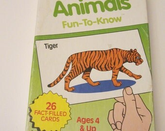 Animal Flashcard Set - 26 Colorful Vintage Flash Cards - Educational Pictures for Children Ages 4 and Up - 1986 Trend Enterprises T-1656