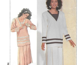 Simplicity 7883 Women's 80s Two Piece Sailor Dress Sewing Pattern Tunic Top and Pull on Skirt Size 14 Bust 36