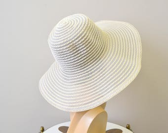 1960s Cream Sheer Wide Brim Hat