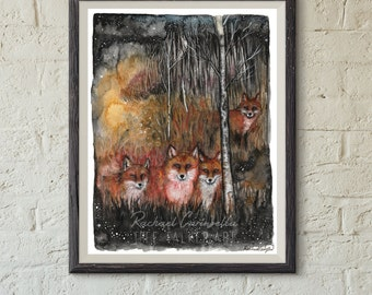 Giclee Art Print - Mixed Media Watercolor - Fox Spirits - 9x12 - Tree Talker Art