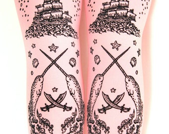 Fairy Kei Narwhal Tattoo Tights Black on Baby Pink Pastel Rose Small Nautical Sweet Lolita