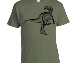 Gift for Dad, Craft Beer Shirt, Beer Drinking Dinosaur, Dinosaur Shirt, Funny Beer Shirt, Velociraptor, Christmas Gift, Birthday Gift,